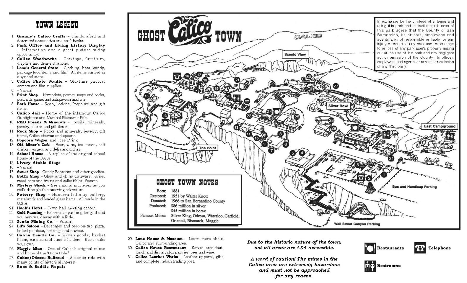 Mapa de Calico Ghost Town