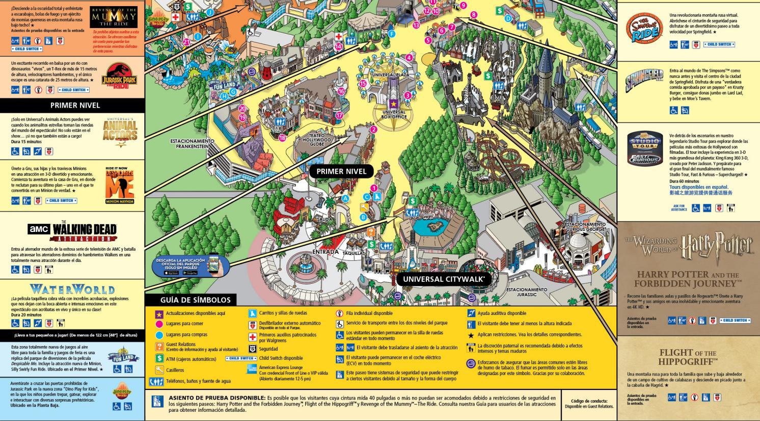 Plano del parque en Español. Universal Studios Hollywood
