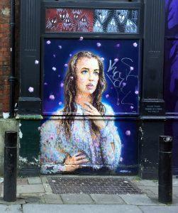 Mural de una víctima de Jack el Destripador. Londres