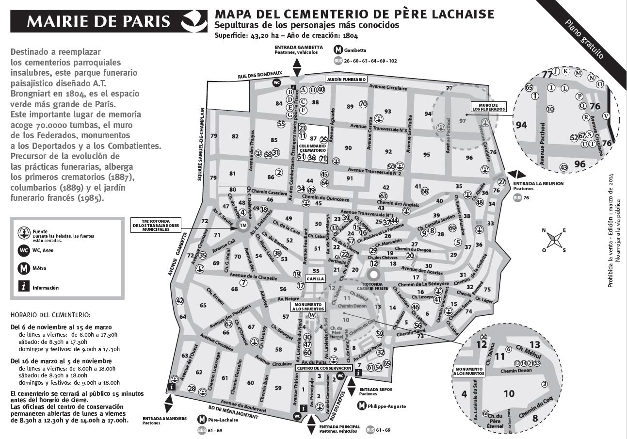Mapa del Cementerio Père Lachaise /Click para abrir el pdf.