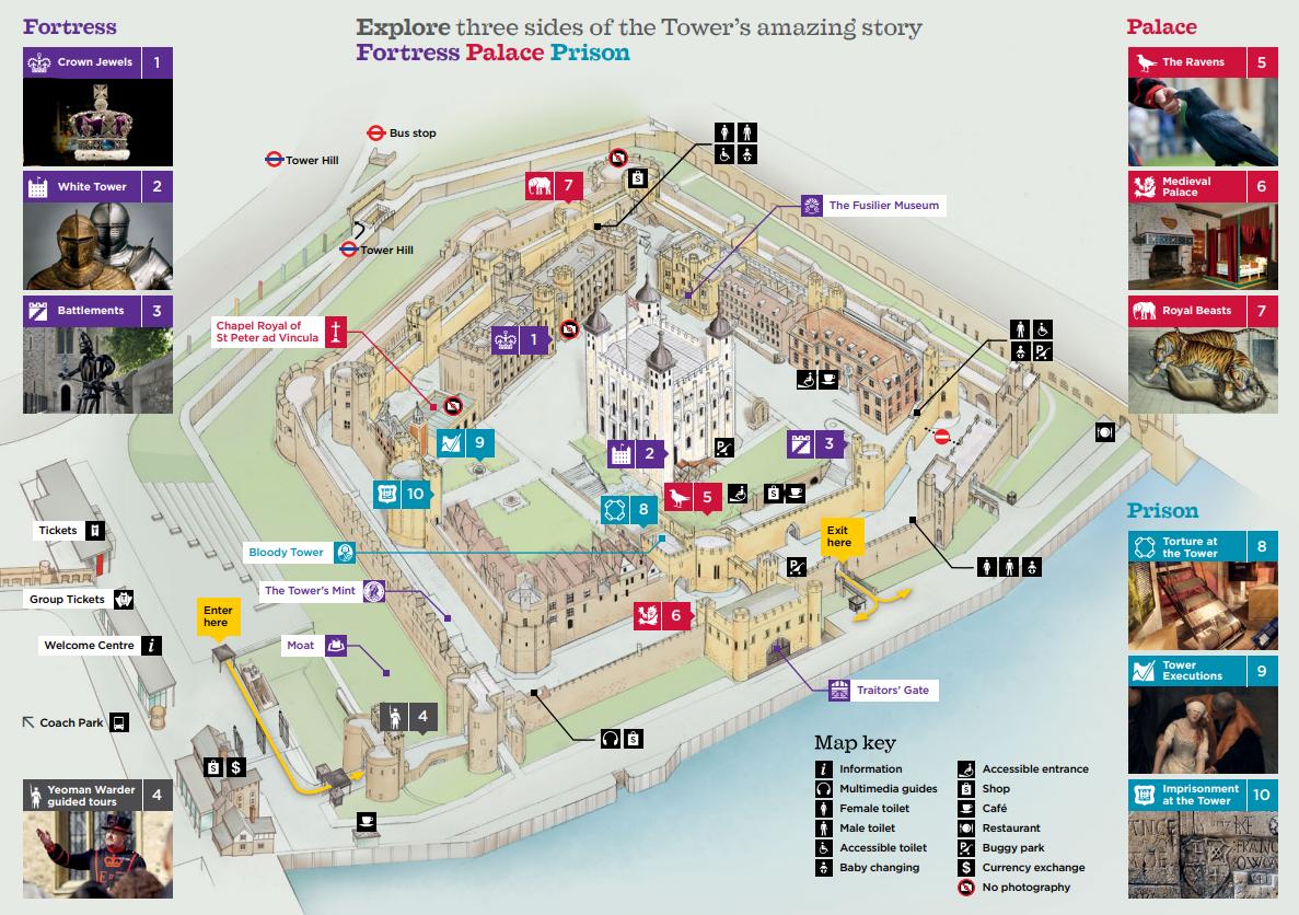 Mapa para visitar la Torre de Londres