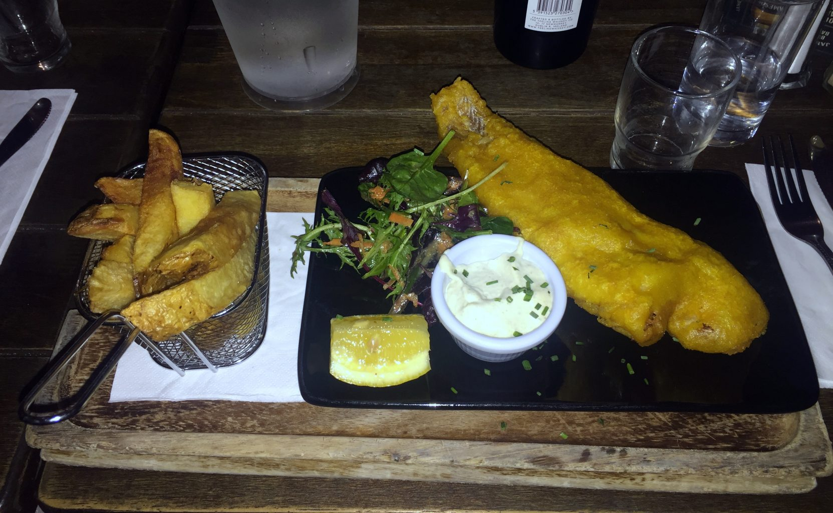Fish and chips en Slattery's Pub
