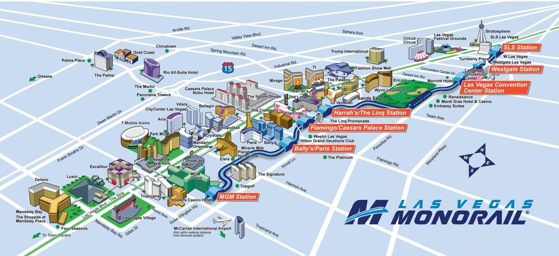 Mapa del Monoraíl. Transporte en Las Vegas