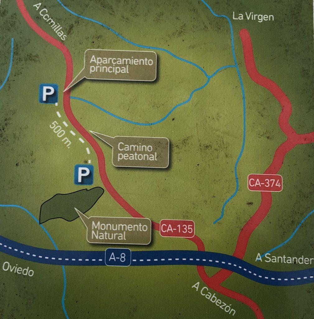 Plano de acceso al bosque. Bosque de Secuoyas del monte Cabezón