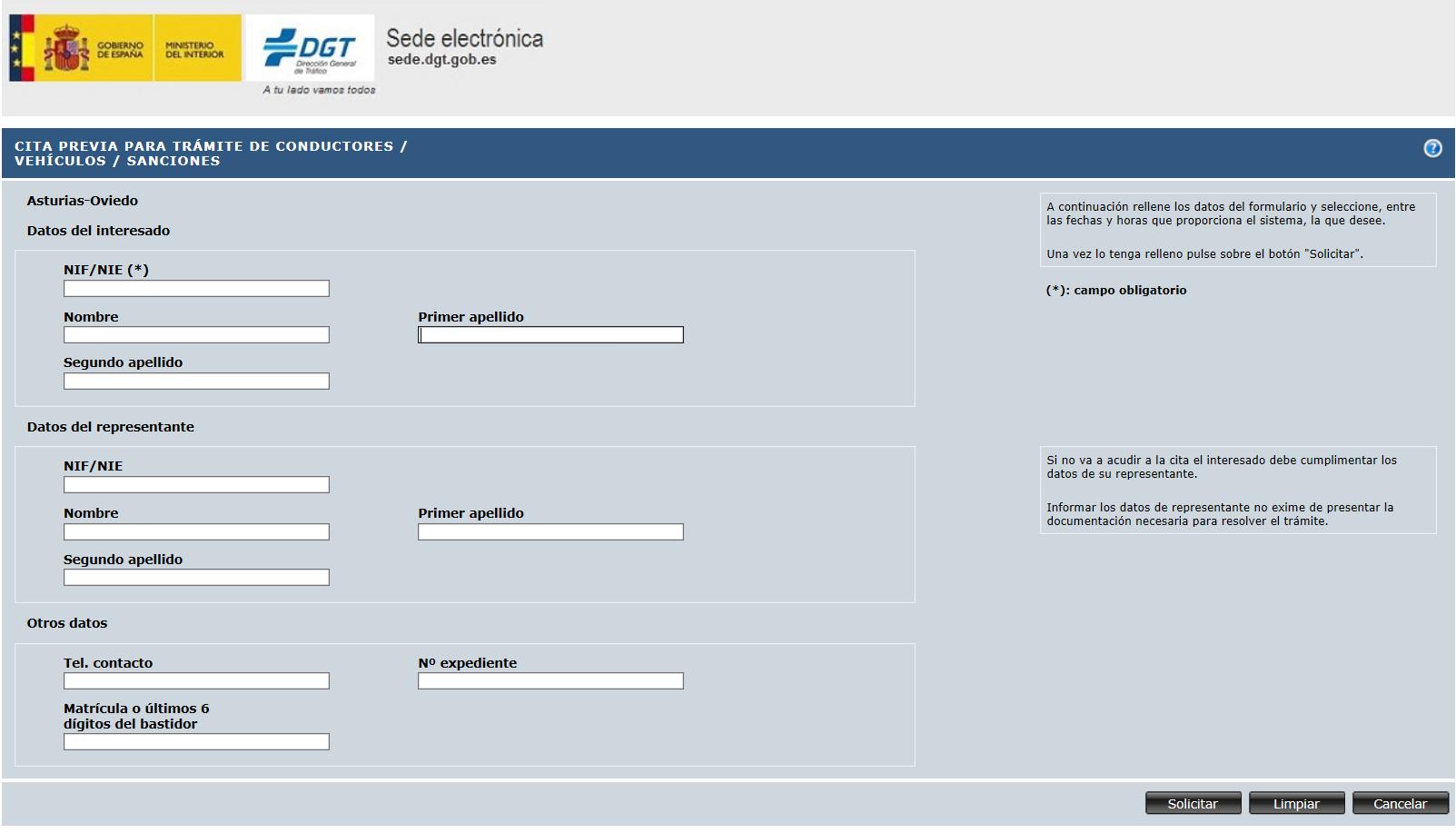 Rellenar datos. Cómo solicitar el permiso internacional de conducir