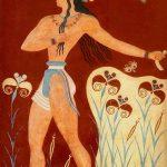Representación del friso Príncipe de los Lirios. El palacio de Knossos