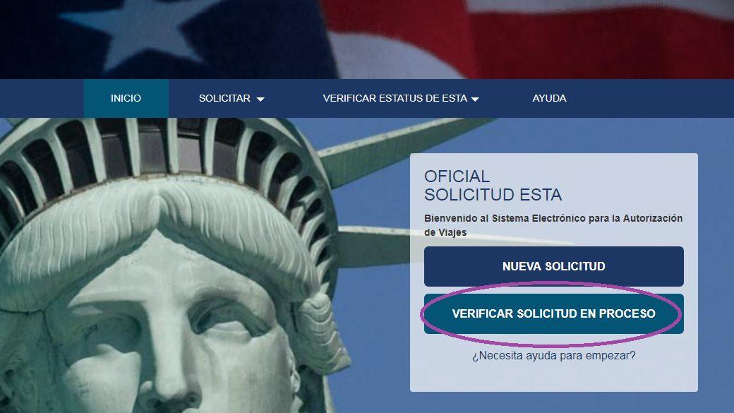 Verificar solicitud. Cómo tramitar el ESTA para viajar a Estados Unidos