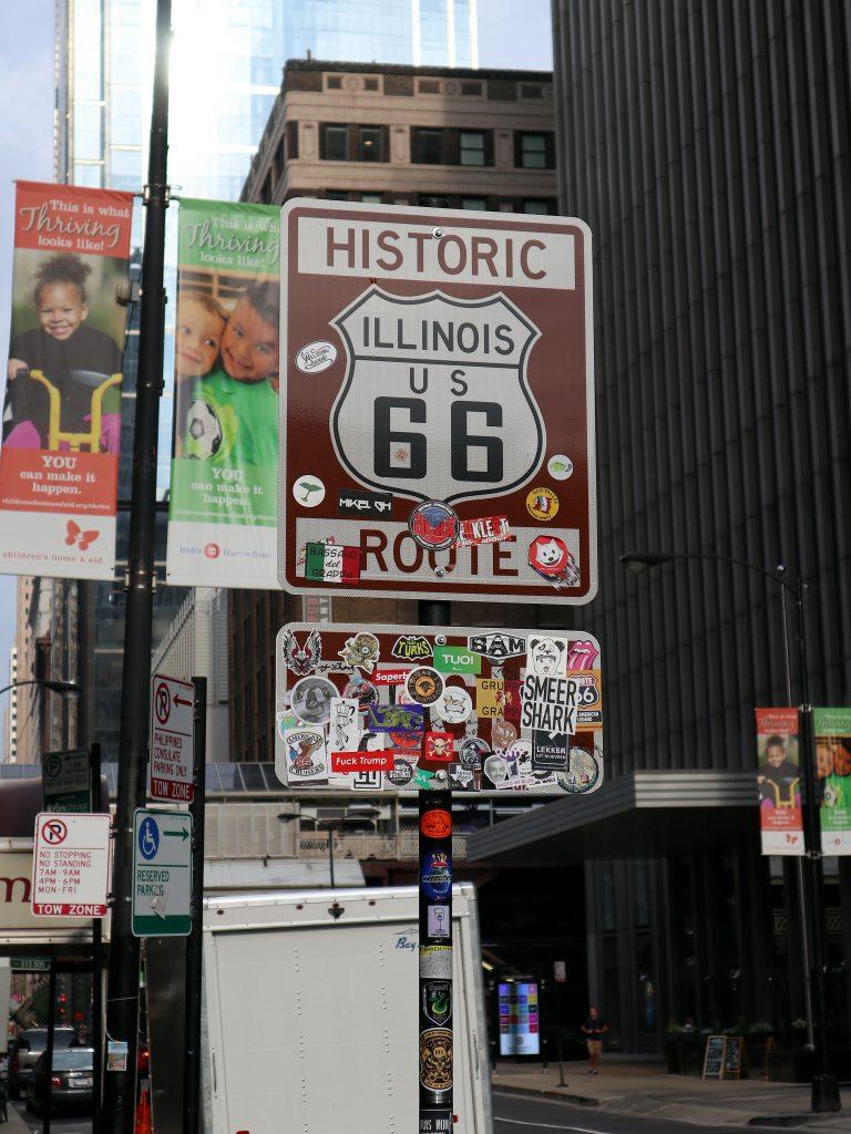 Señal de inicio de la ruta. qué ver y hacer en chicago