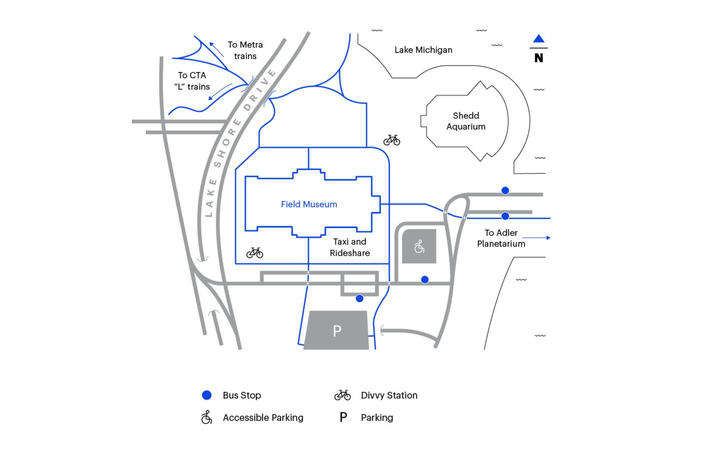 Mapa para llegar al Field Museum