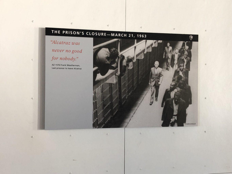Final de la visita. visitar la cárcel de Alcatraz