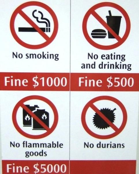 Normas del metro de Singapur. las leyes más insólitas de Singapur