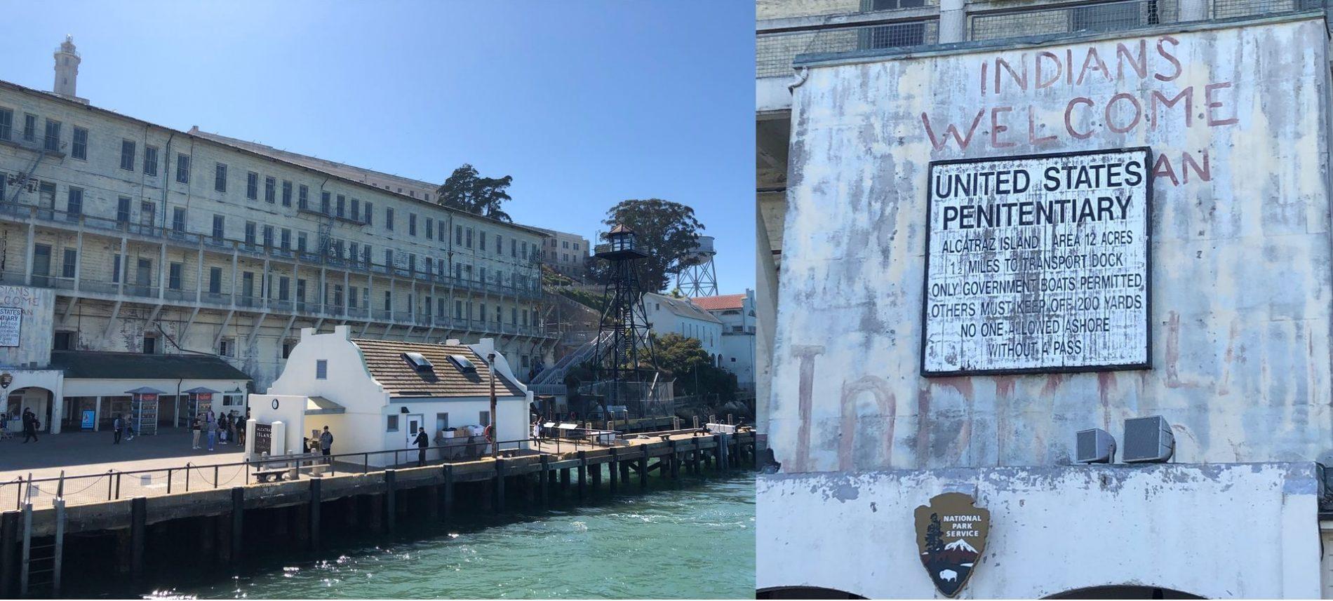 Llegada al muelle de la isla de Alcatraz. visitar la cárcel de Alcatraz