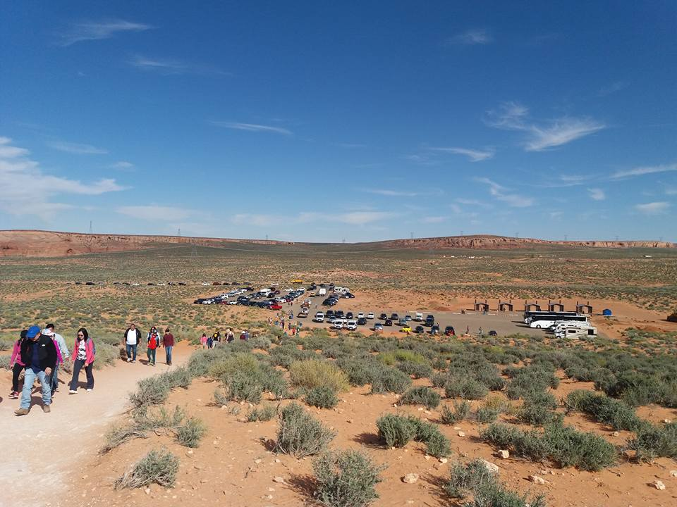 parking e inicio del trail. Visitar Horseshoe Bend