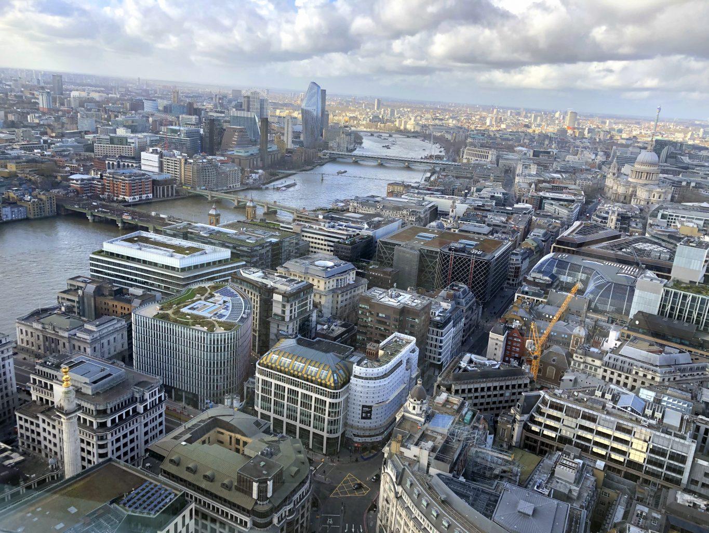 Vistas desde el mirador exterior. El mirador Sky Garden de Londres