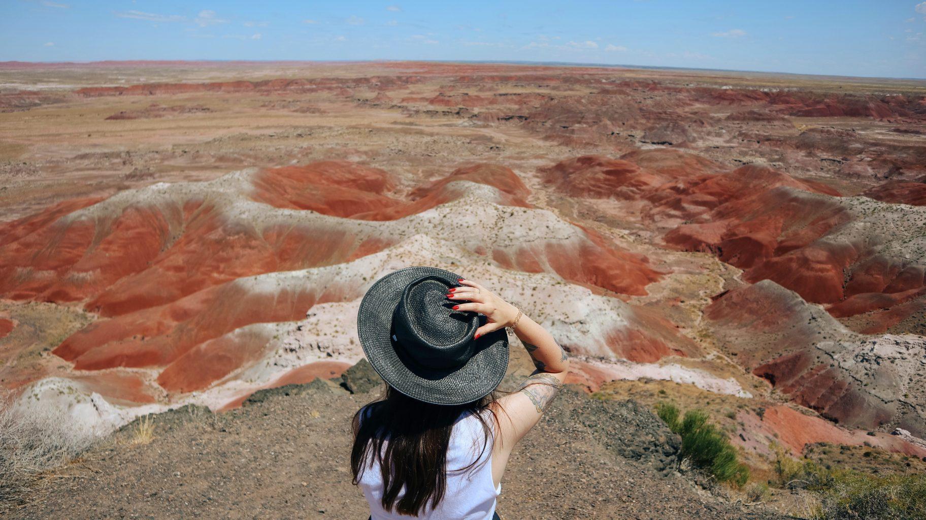 Las vistas desde el mirador del Painted Desert Inn National Historic Landmark. Visitar el Petrified Forest