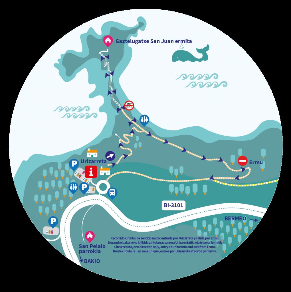 Mapa de accesos. Visitar San Juan de Gaztelugatxe