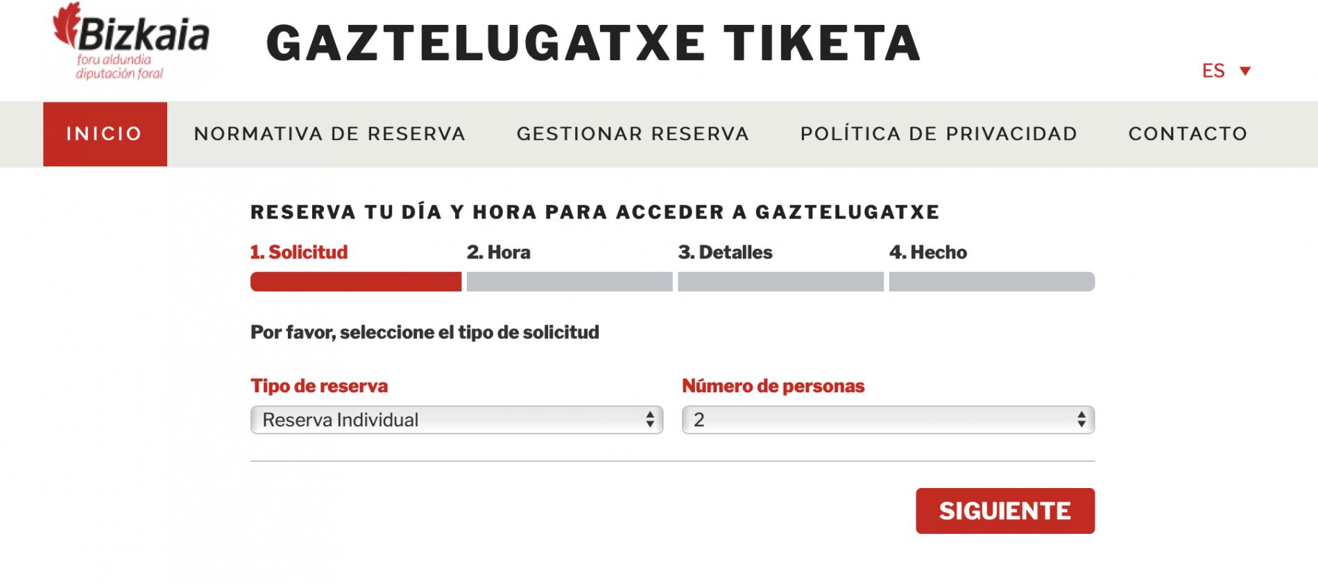 Proceso de reserva de tickets. Visitar San Juan de Gaztelugatxe